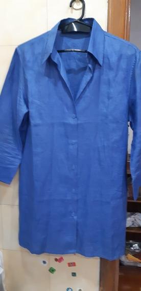 Casaca Camisa Zara Lino O Ramie Azulino Talle L