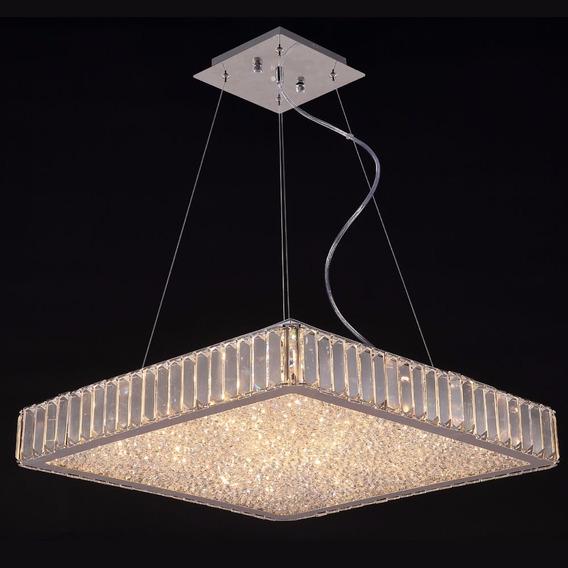 Pendente Cristal Transparente + Vidro 8 Lâmpada.g9 -40x40cm