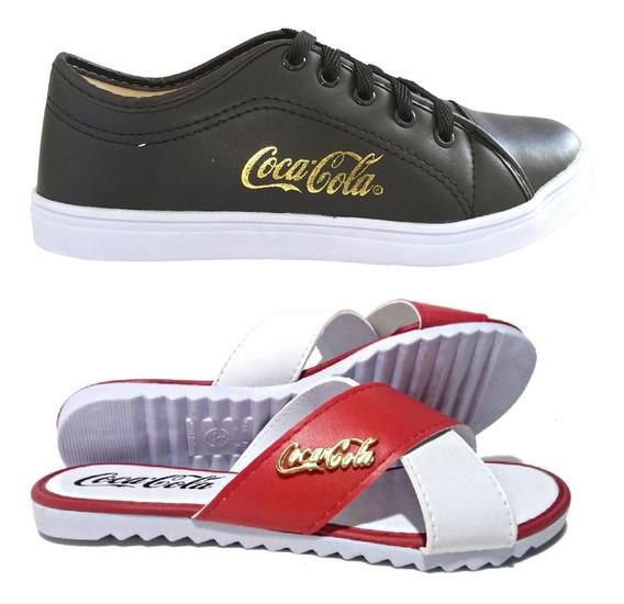 Tênis Feminino Casual Coca Cola + Chinelo Sandália Promoção