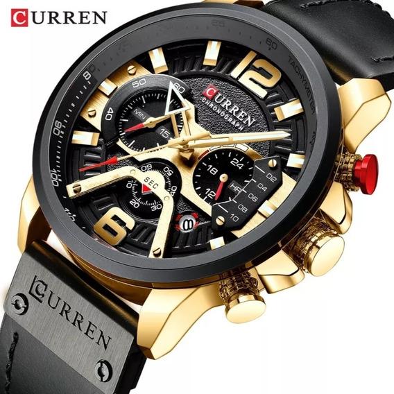Relógio Masculino Luxo Com Cronógrafo Curren Lançamento