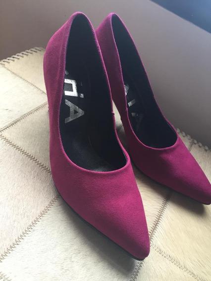 Zapato Stileto Botineta Cuero Importado Negro 2019