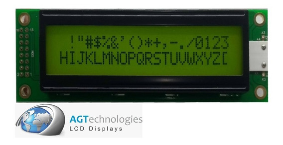 Display Caracteres 20x2 Fd. Verde C/ Backlight Yellow Green