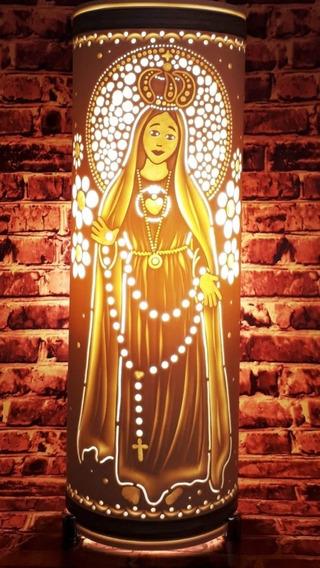 Luminária Abajur Artesanal Em Pvc Nossa Senhora 30cm Bivolt