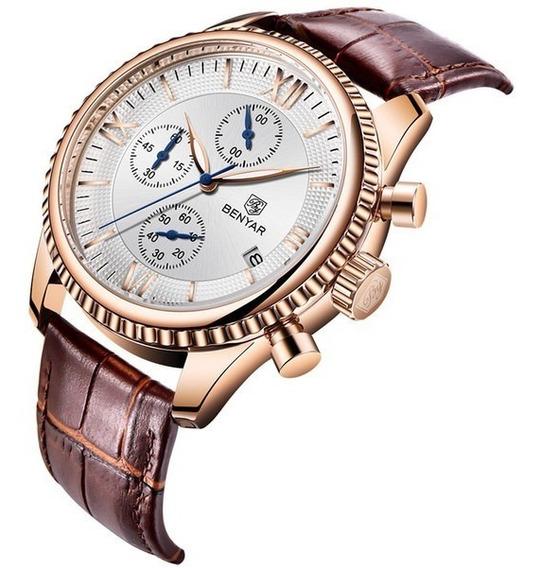 Relógio Pulso - Benyar - 43mm - Multifuncion Couro - Hardlex