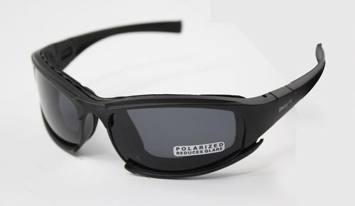 Gafas Polarizadas Militar Motocicleta 4 Lentes Color Negro
