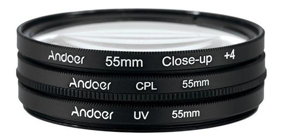 Filtro Kit 55mm Uv+cpl+clouse Canon Nikon Sony Frete Grátis