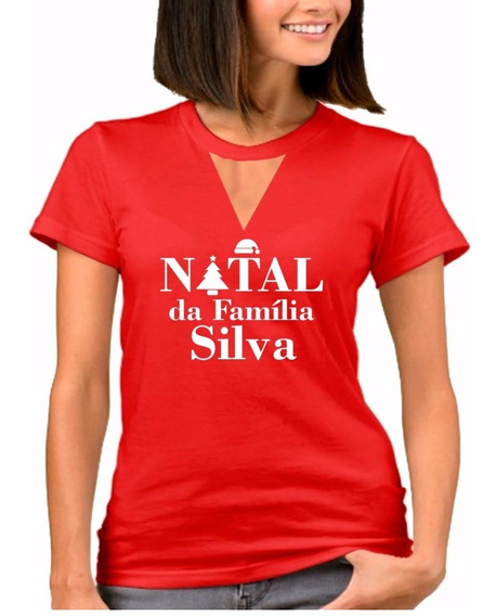 Camiseta E Blusa Choker Natal Com Nome Da Sua Família