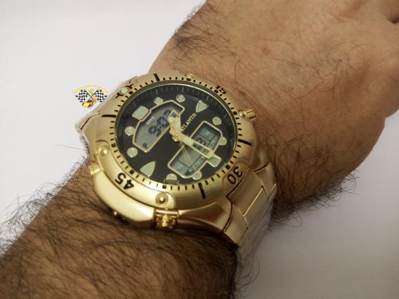 Relógio Masc Atlantis A3154 Aqualand 1060 Fundo Preto Grde