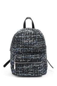 Bolsa Mochila Backpack De Tweed Metalico Moda Forever 21