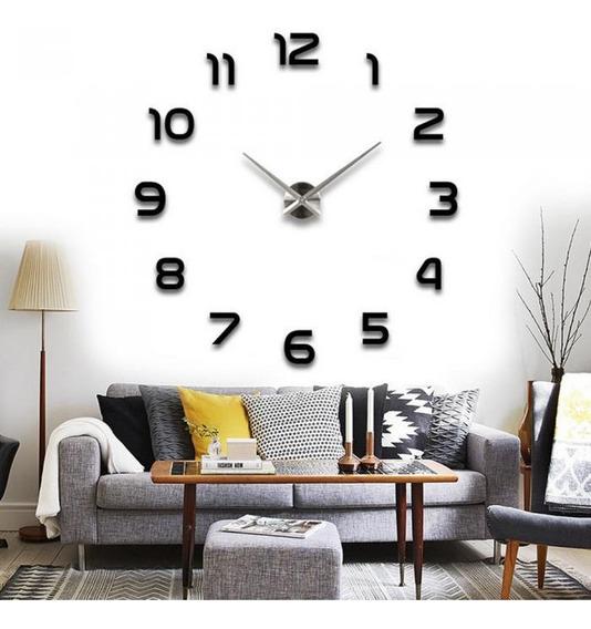 Gran Reloj Real Minimal Pared Hermoso 120cm 3d Color Negro