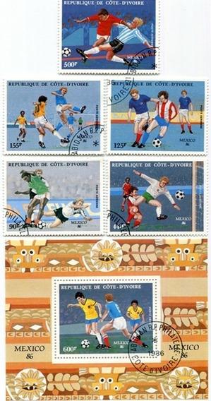 Hoja Estampillas Mundial Futbol Mexico 86 Costa De Marfil