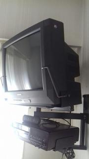 Tv Audinac 21 + Vhs Panasonic + Soporte.-
