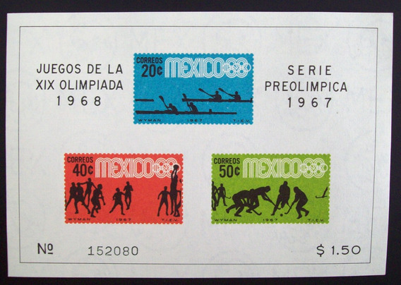 Deporte, México - Bloque Sc 992a Preolímpica 67 Mint L4366