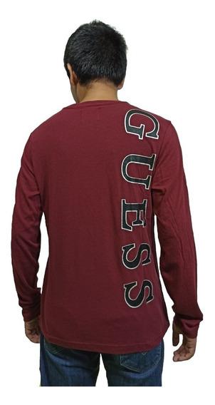 Playera Guess Hombre Long Sleeve Back Logo Tee