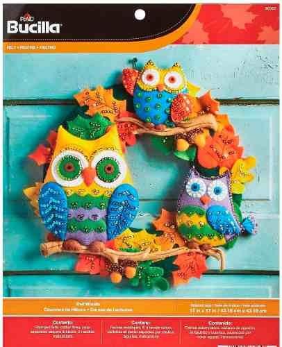 Imagen 1 de 6 de Adorno Navidad Bucilla Búhos P La Puerta P/ Confeccionar