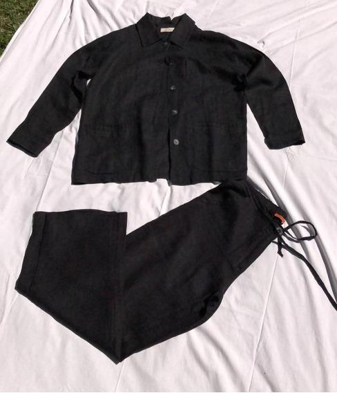 Conjunto De Lino Mujer Negro Talle L Saco Pantalon By Me