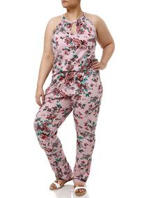 Macacão Plus Size Feminino Rosa