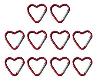 10pcs Mosquetones De Aluminio Forma De Corazón Herramientas