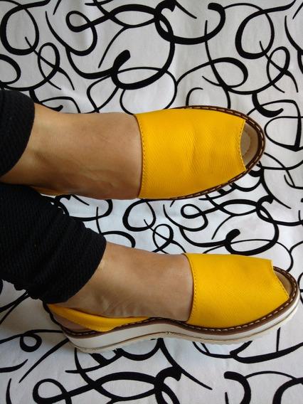 Calzado Sandalia Cocuizas Cuero 100% Amarillas Envío Gratis