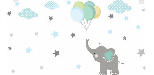 Vinilo Decorativo Elefante Con Globos Y Estrellas  Bebe