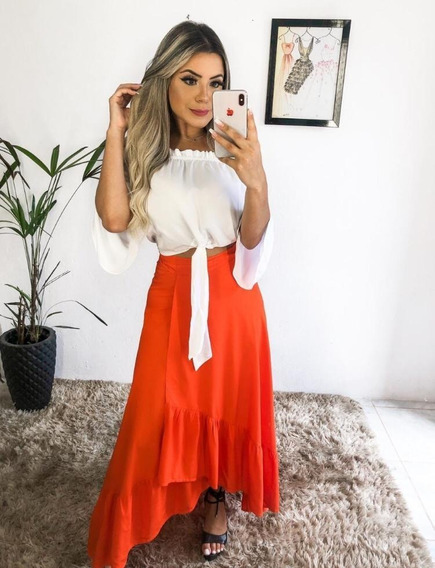Saia Fenda Envelope Casual Babado Moda Feminina Verão 2019