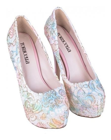 Sapato Feminino Meia Pata Floral Renda Salto Alto