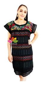 Vestido Dama Artesanal Bordado A Mano Hilo Seda Mexicano