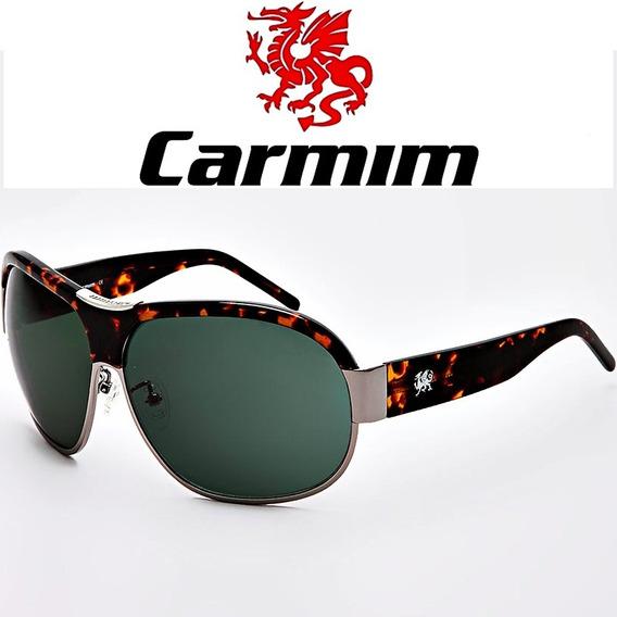Óculos De Sol Masculino Carmim Original Aviador Marrom Prata