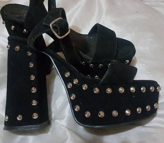 Sandalias Zapatos Con Plataforma De Cuero Con Tachas Número