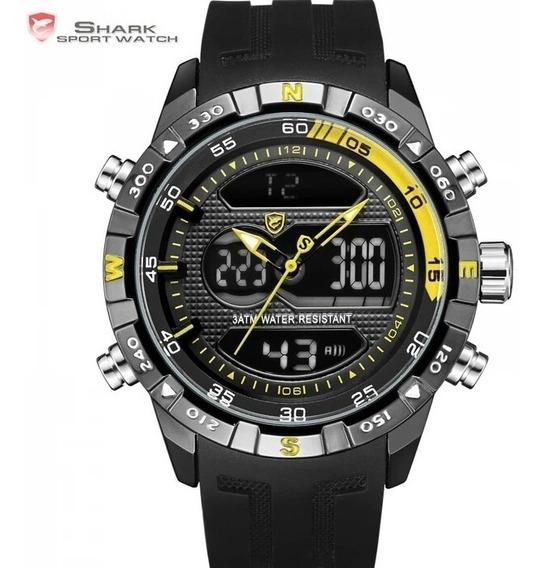 Relógio Shark Original Esportivo Preto E Amarelo .