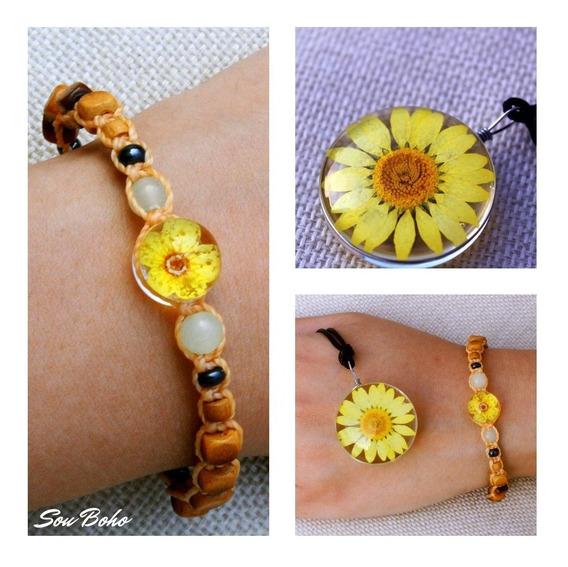 Pulseira Macrame Hippie + Colar Resina Flor Natural Amarelo