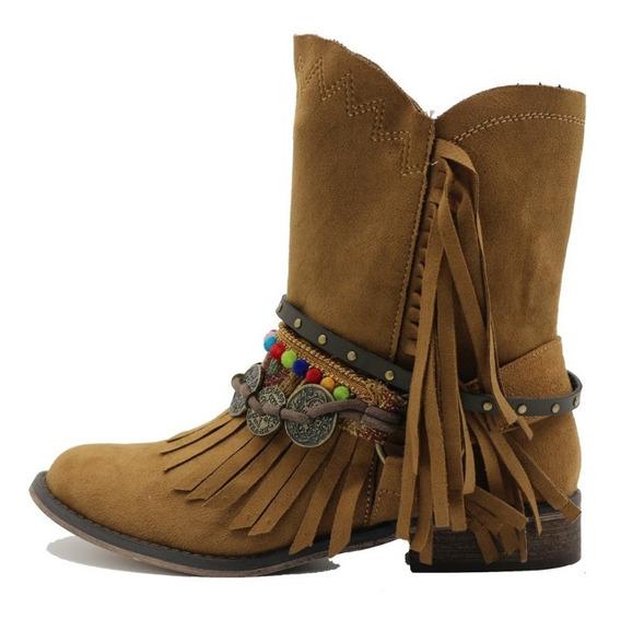 Botas Botinetas Texana Mujer Cuero Pu Camel Leblu Z120