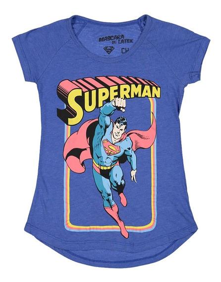 Playera Mujer Vintage Superman Máscara De Látex Dc Cómics