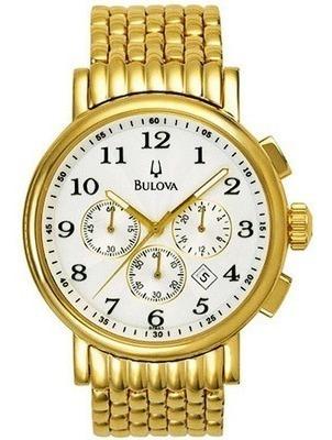 Relógio Bulova Wb21221h Masculino Folhado Ouro Cronógrafo