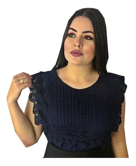 Blusa Feminina Renda Guipir Plissada Rendada Moda Evangelica