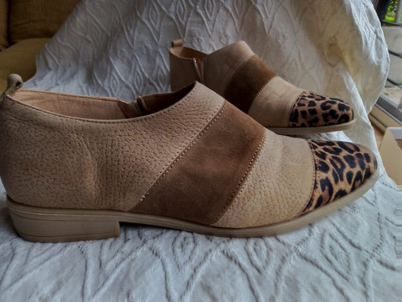 Zapatos Botitas Cortas Slipper Mujer 100% Cuero Nuevas !