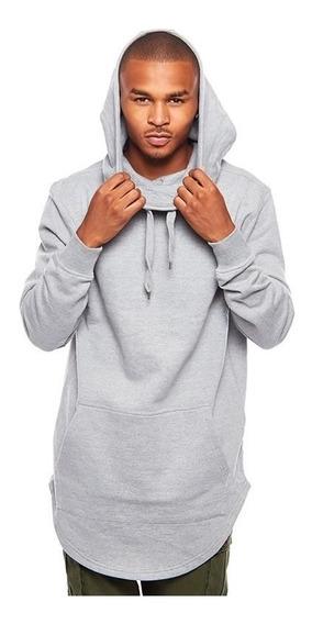 Blusa Moletom Hip Hop Swag Long Hoodie Zíper Nas Costas B18
