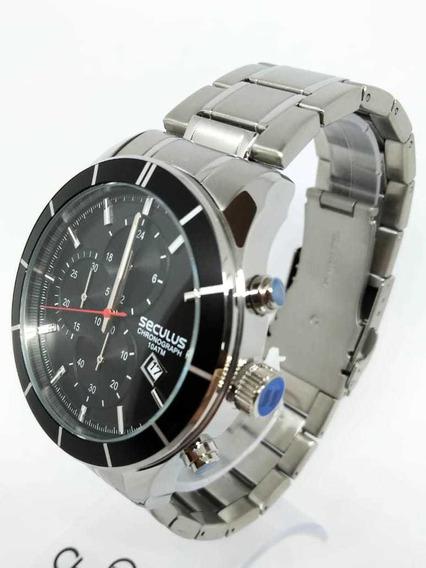 Relógio Cronógrafo Todo Em Aço Seculus 23600g0svna1