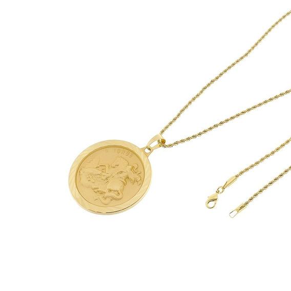 Kit Medalha São Jorge Com Corrente Baiano Folheado A Ouro