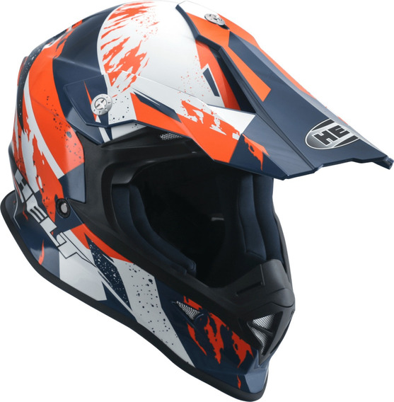 Capacete Helt Mx Traction Azul/laranja/branco 60