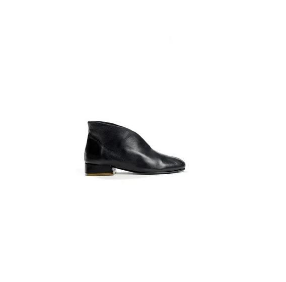 Zapato Mujer Bota Punta Redonda Natacha Cuero Negro #363