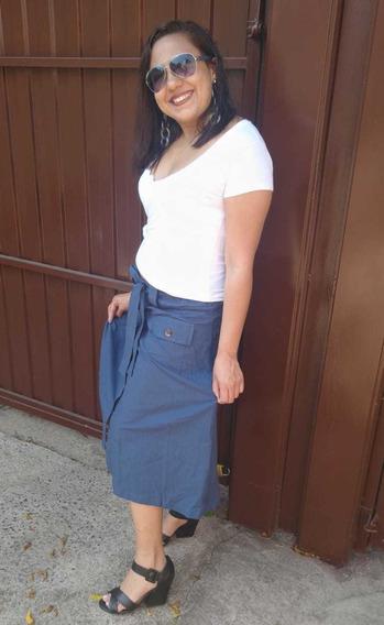 Saia Secretária Midi Linho Moda Evangélica Gospel Ccb 2019