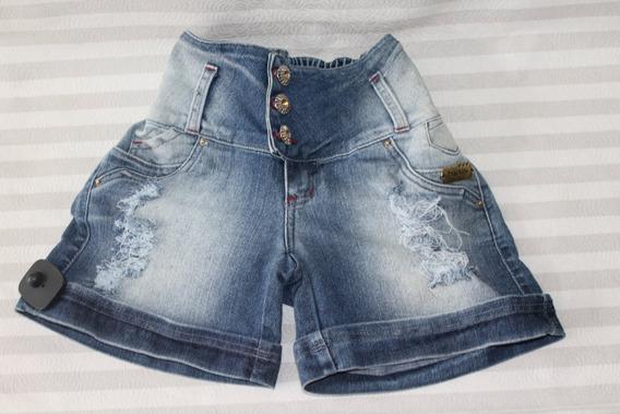 Shorts Jeans Elastico Bermuda Cintura Média Levanta Bumbum