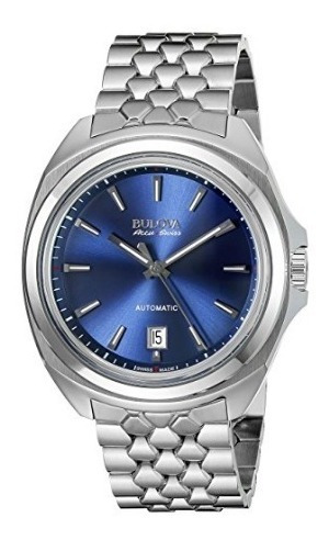 Relógio Masculino Bulova Automatico Prata/azul Suíço Data