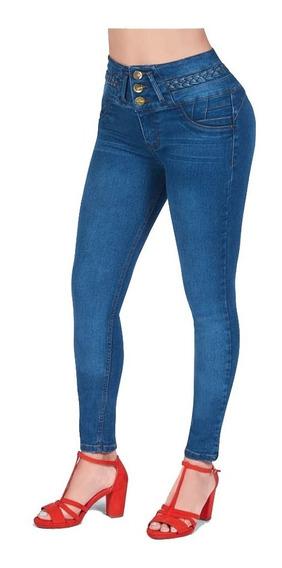 Jeans Recto Levanta Pompas Con Botones Delanteros