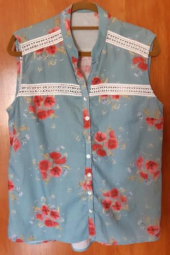 Blusa Malwee - Azul Jeans - Florido - Rendas - Feminino