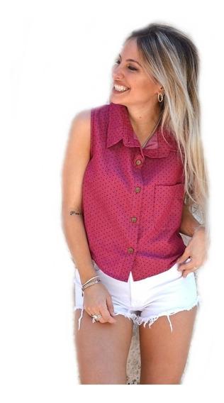 Camisa Mujer De Jeans Corta Diseño Lunares Con Botones