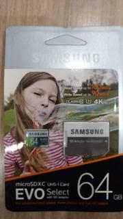 Cartão Micro Sd 64gb Samsung Evo Plus Classe 10 Alta Velocid