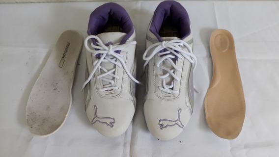Tênis Puma Branco Detalhes Roxo N° 38 Cod 3003