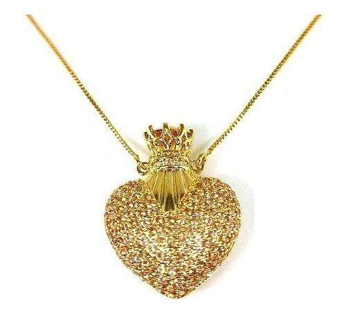 Colar Perfumeiro Semijoia Banhado Ouro 18k Zirconia Dourada